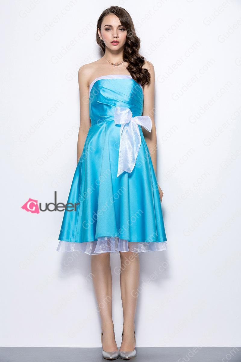 Cute strapless pleated two tone satin organza lining bridesmaid cute strapless pleated two tone satin organza lining bridesmaid dress ombrellifo Choice Image
