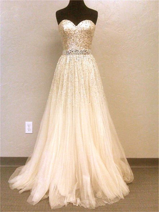 Stunning, Sparkling Strapless Ball Gown Wedding Dress #2305556 ...