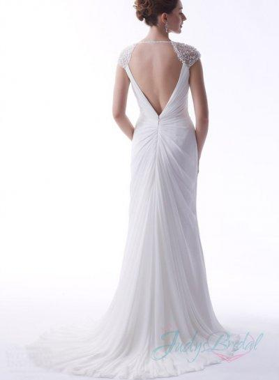 Свадьба - JW15162 sexy open back cap sleeved chiffon summer white wedding dress