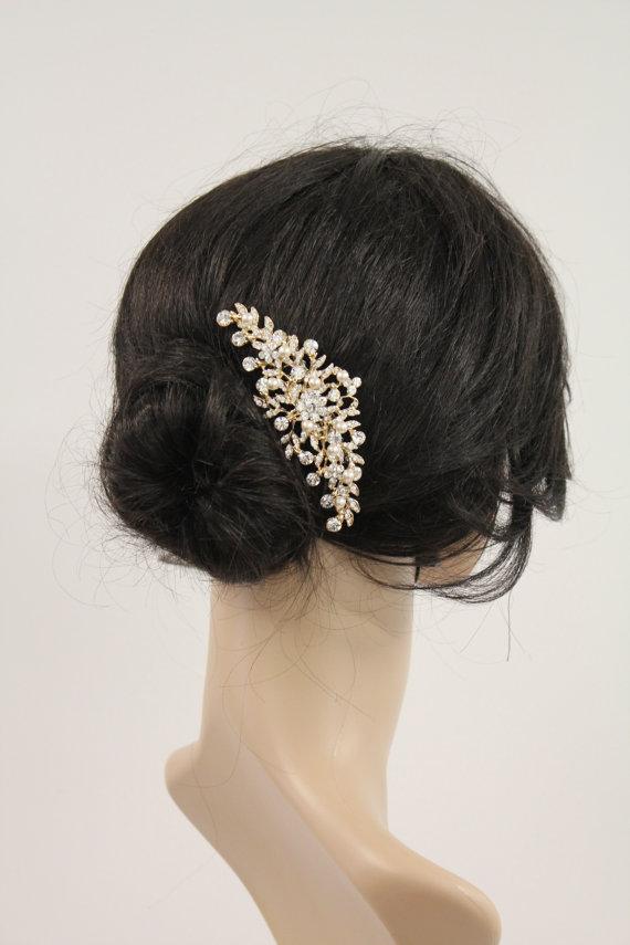 Wedding - Gold bridal hair comb gold bridal headpiece gold wedding hair comb bridal hair accessory bridal jewelry bridal hair jewelry wedding comb
