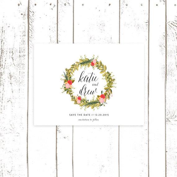 زفاف - Save The Date, Floral Wreath Save The Date Cards, Simple Save the Date, White Save the Date