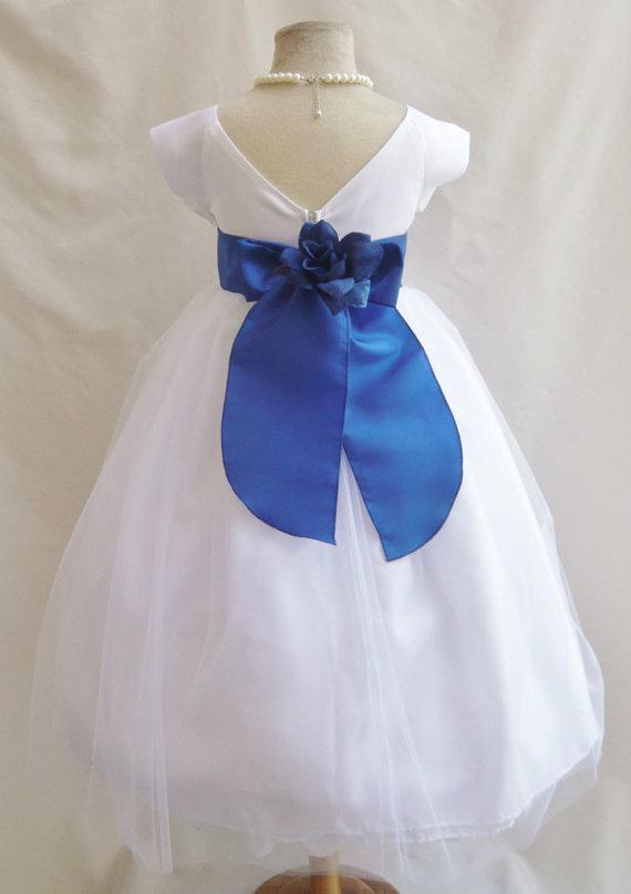 Flower Girl Dresses White With Blue Royal Satin Dress Fd0sv