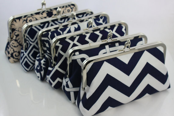 Wedding - Navy Customised Bridesmaid Clutches / Wedding Purse Clutch / Wedding Party Gifts - Set of 8