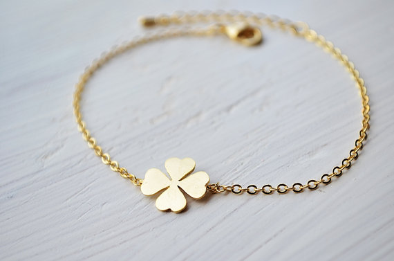 Four Leaf Clover Bracelet In Gold Lucky Charm Everyday Jewelry