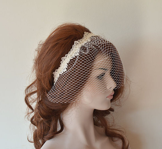 Nozze - Bridal birdcage veil with lace, ıvory wedding veil, bridal birdcage headband, Wedding Hair Accessory, Bridal Hair Accessories