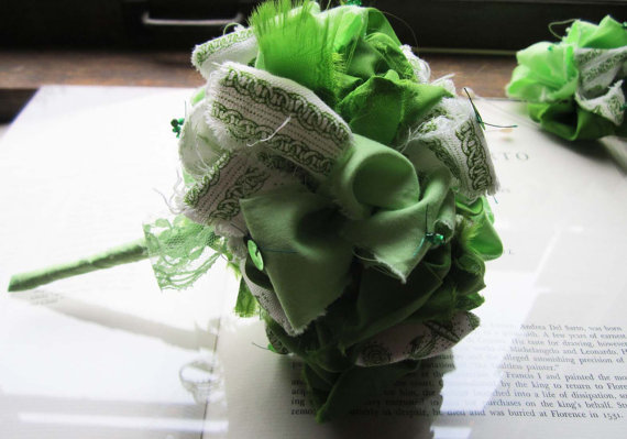Свадьба - Vintage Fabric Flower Bouquet  * Sailor Green
