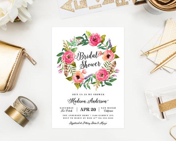 زفاف - Printable - Wild Flowers Bridal Shower Invitation