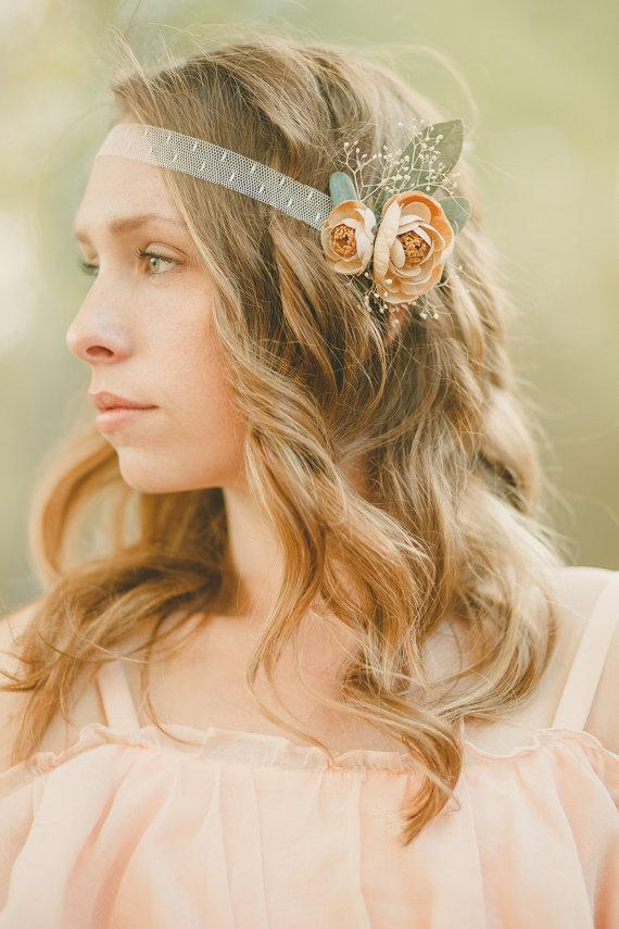 Свадьба - The Esther Floral Crown Adornment created with ivory lace, beige ranunculus and babys breath
