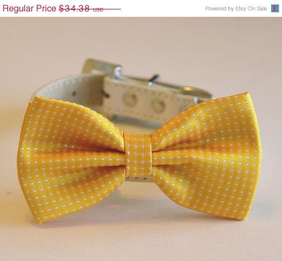 زفاف - Yellow Polka dots dog Bow tie,Yellow Dog Bow Tie with high quality white leather collar, Cute Dog Bow tie, Wedding accessory