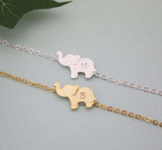 Hochzeit - PERSONALIZED ELEPHANT BRACELET, initial elephant bracelet,birthday gift , bridesmaid gift idea, Elephant Jewelry, Animal Jewelry, friendship