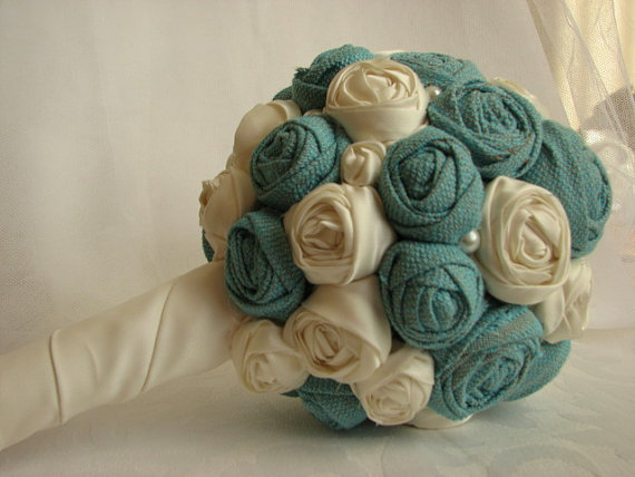 Turquoise Bridal Bouquet Ivory Flowers Wedding Bridesmaids Bouquets