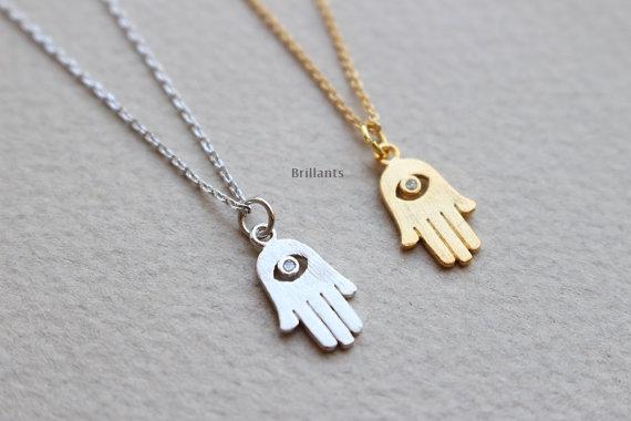 Wedding - Hamsa necklace,  Lucky charm neclace, Bridesmaid set, Bridesmaid jewelry, Wedding necklace