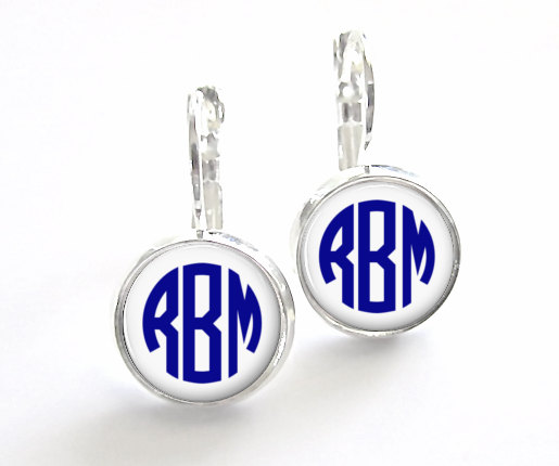 Hochzeit - Navy Blue Monogram Earrings, Bridesmaid Gift, Monogram Jewelry Personalized Earrings (342)