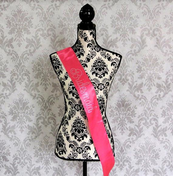 Mariage - Satin Rhinestone Sash. Bride Sash. Bride To Be Sash. Bridesmaid Sash. Mommy to be sash. Bachelorette Party. Bachelorette Party Sash