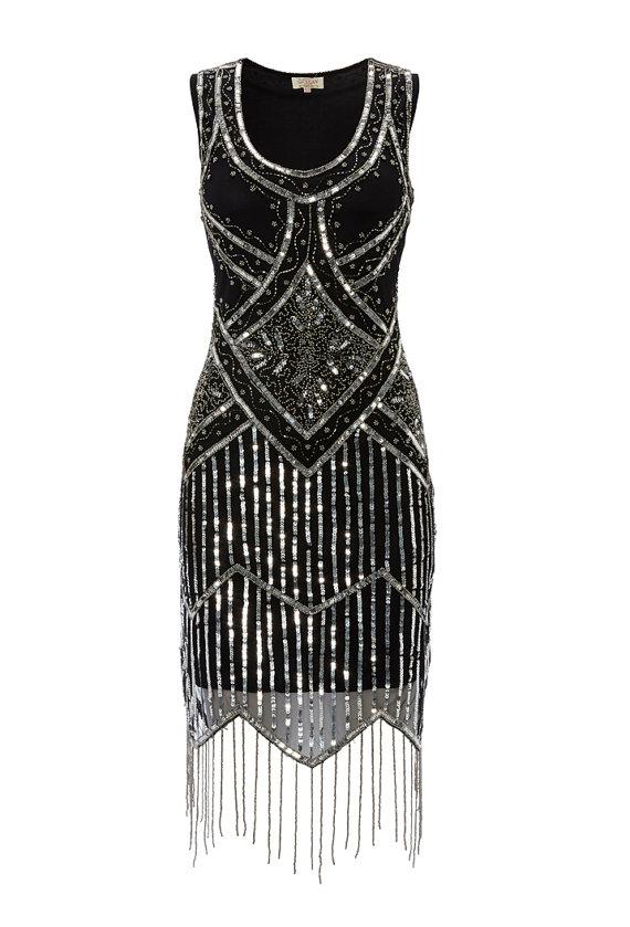 Свадьба - UK8 US4 AUS8 Isobel Black Vintage inspired 20s Flapper Great Gatsby Beaded Charleston Art Deco Bridesmaid Wedding Fringe Dress New Hand Made