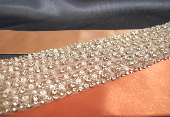 Hochzeit - Bridal Rhinestone Wide Wedding Sash 7 cm Crystal Belt