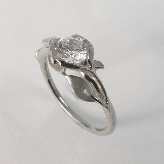 Wedding - Leaves Engagement Ring No. 6 - 14K White Gold and Diamond engagement ring, engagement ring, leaf ring, antique, art nouveau, vintage