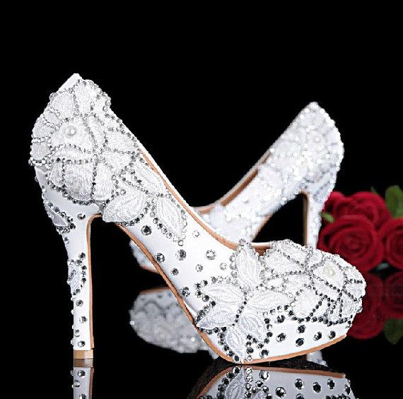 Mariage - Lace wedding shoes, White lace wedding shoes,Custom lace wedding shoes-100% in handmade