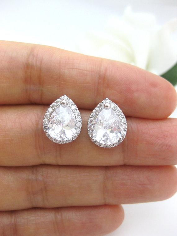 Свадьба - LUX Cubic Zirconia Teardrop Earrings Clear Crystal Earrings Wedding Jewelry Bridal Earrings Bridesmaid Gift Sparky Earrings (E013)