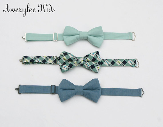 Wedding - Dusty Shale Boys Bow Tie, Dusty Blue Boys Bow Tie, Navy Blue and Sage Green Bow Tie, Toddler Bow Tie, Wedding Ring Bearer