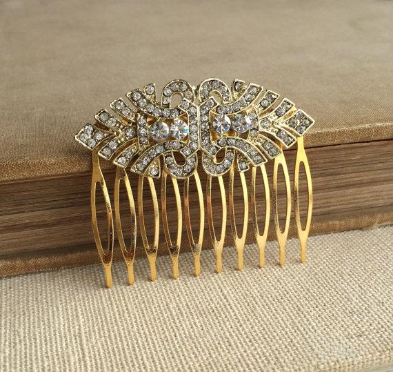 Wedding - Gold hair comb, Gold Art Deco Comb, Gold hair accessories, Art Deco headpiece,  head piece rhinestone PALE GOLD