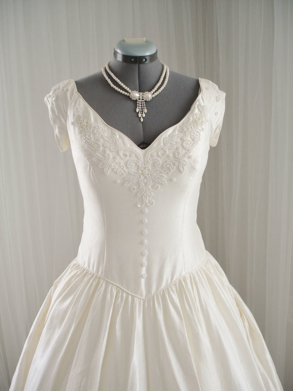 Wedding - Vintage Beaded Silk House of Bianchi Full Skirt Wedding Dress with Cap Sleeves