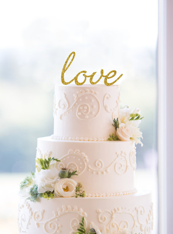 زفاف - Glitter Script Love Cake Topper – Custom Wedding Cake Topper Available in 17 Glitter Options- (S077)