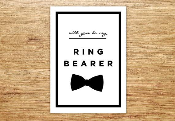 Hochzeit - Ring Bearer Card, Will You Be My Ring Bearer, Wedding Party Invitation, Junior Groomsman, DIGITAL, Bowtie, Nephew, Modern, Page Boy, DIY