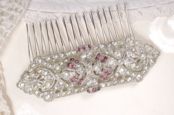 Свадьба - Sash Brooch OR Hair Comb, 1920s Art Deco Purple Amethyst & Clear Rhinestone Bridal Pin, Pave Silver Wedding Dress Accessory Gatsby Hairpiece