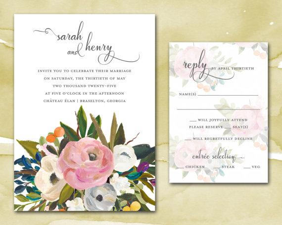 Mariage - Wedding Invitations - Printable DIY Wedding Invitations - Wedding Invites - Watercolor Blooms Wedding Invitations