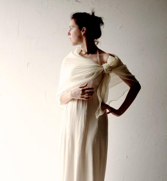 Свадьба - Wedding scarf, Ivory Bridal Scarf, white stole, cream silk scarf, wedding veil, chiffon bridal wrap, white silk shawl, Silk sash