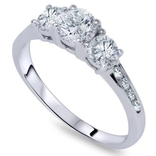 Wedding - Diamond .50CT 3-Stone Engagement Ring 14K White Gold