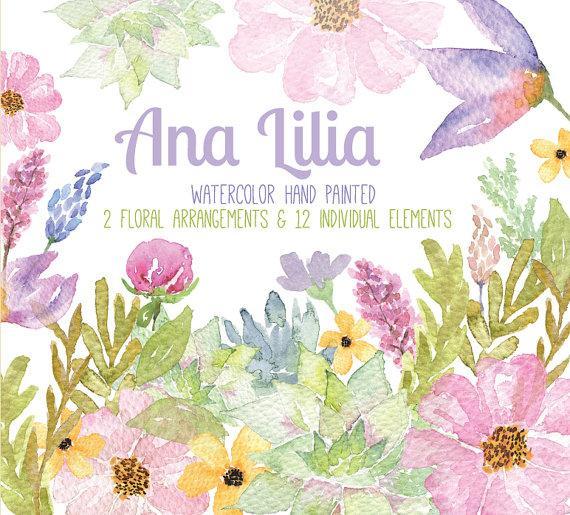 Watercolor Floral Clipart, PNG, Wedding Bouquet, Arrangement ...