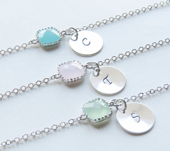 Свадьба - Birthstone & Initial Bracelet- Personalized Bracelet-Birthstone Bracelets-Choose your own color and initial.Bridesmaids Bracelets.
