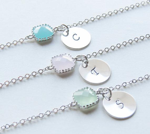 Hochzeit - Birthstone & Initial Bracelet- Personalized Bracelet-Birthstone Bracelets-Choose your own color and initial.Bridesmaids Bracelets.