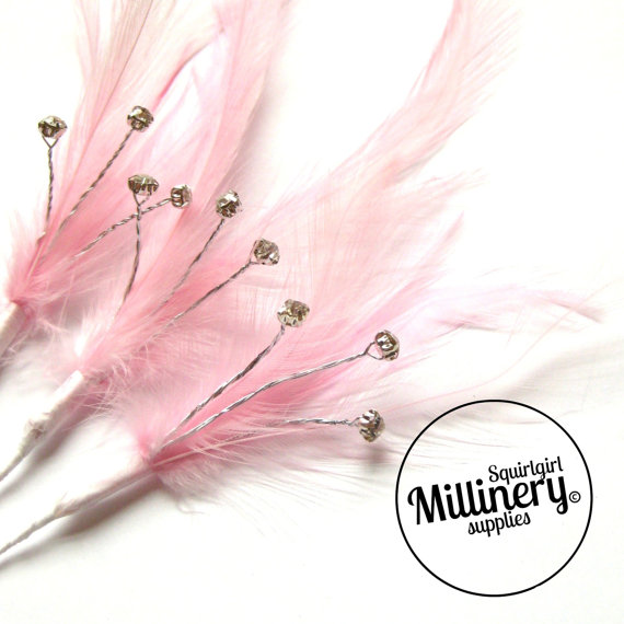 Hochzeit - 3 Light Pink Hackle Feather & Diamante / Rhinestone Wired Spray Mounts for Fascinators, Wedding Bouquets and Hat Trimming