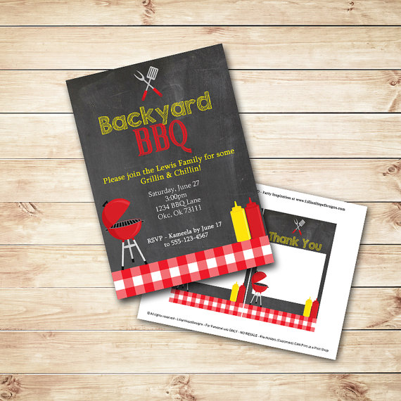 زفاف - Barbeque Invitation - BBQ Invitation - Chalboard Invitation - Backyard Party - PRINTABLE Invitation and Thank You Card - BBQ Party