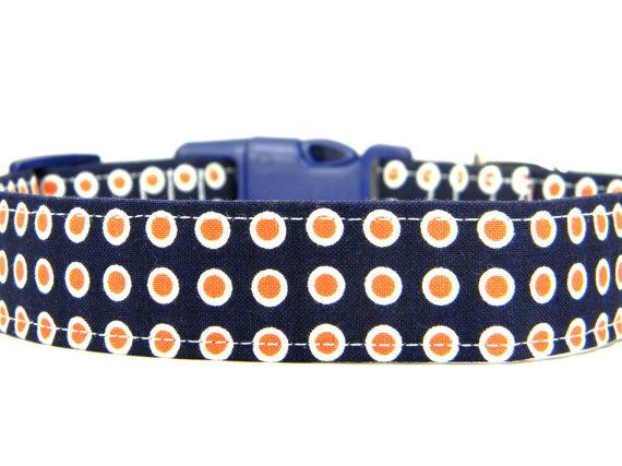 زفاف - Dog Collar, Navy Orange Dog Collar, Pet Collar: Orange Olives