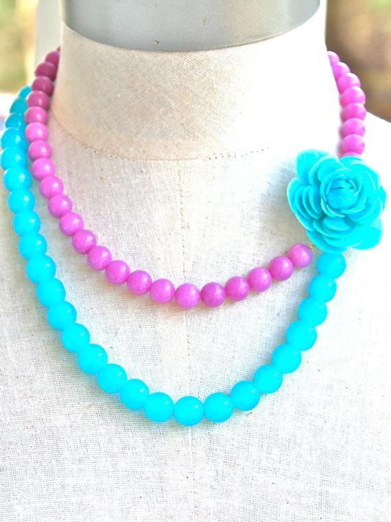 Mariage - Aqua Blue and Purple Statement Necklace - Aqua and Purple Jade Glass Bead Double Strand Vintage Aqua Flower Necklace - Wedding Bridal,Beach