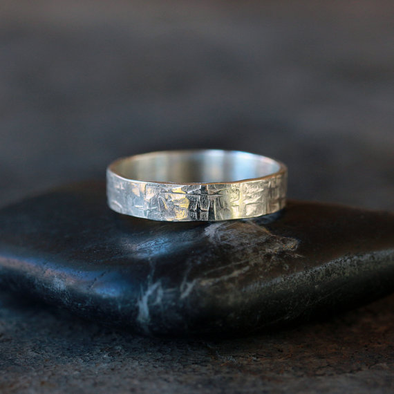 Hochzeit - Viking Ring Sterling Silver Men's Wedding Band Hammered Pattern Rugged Man Unisex Style for Him Handmade Jewelry