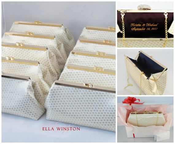 Wedding - SALE! 15% OFF Bridesmaid Clutches, Set Of Ten Gold And Navy Blue Bridesmaid Gift Clutch, Bridal Clutch, Mother Of The Bride Gift, Wedding