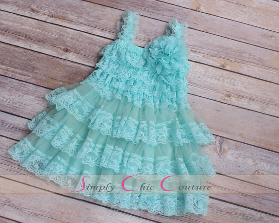 Mariage - Flower Girl Dress, Aqua Blue Dress, Lace Flower Girl Dress, seafoam green flower girl dress, Junior Bridesmaid dress, tulle girl dress