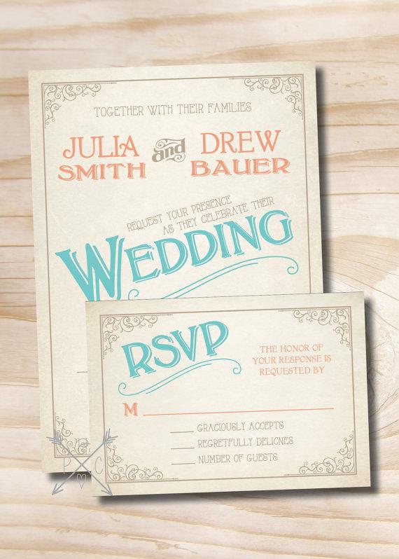 Mariage - VINTAGE SCROLL POSTER Rustic Wedding Invitation Response Card printed sample set