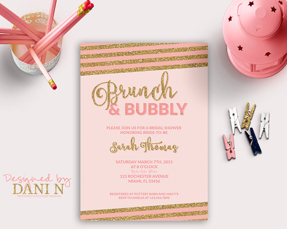 bridal shower invitation brunch bubbly bridal shower stripes bridal shower invite glitter invitation pink and gold glitter elegant