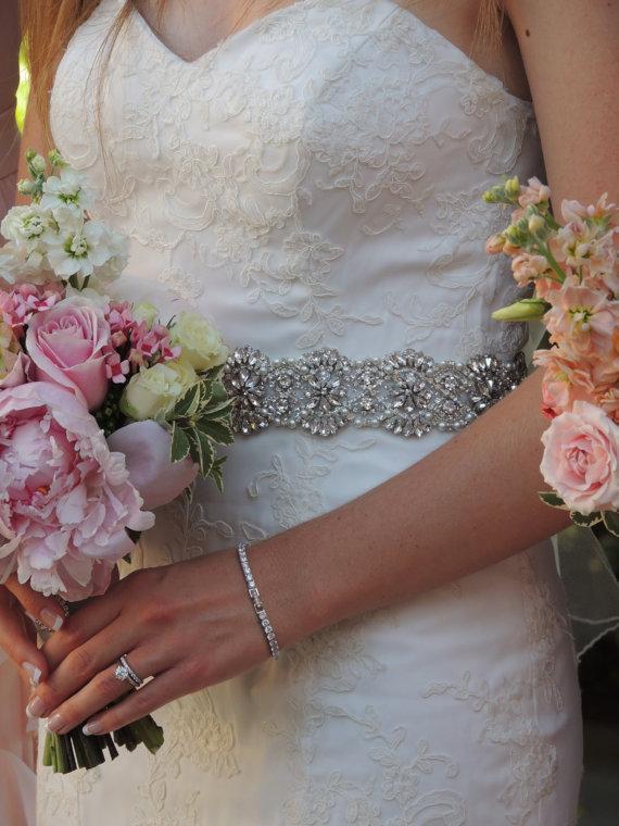 "Mariage - Wedding Dress Belt. Pearl, Rhinestone, Beaded, Crystal Bridal Gown Sash. Finished with Swiss Satin Ribbons. ""Melissa"""