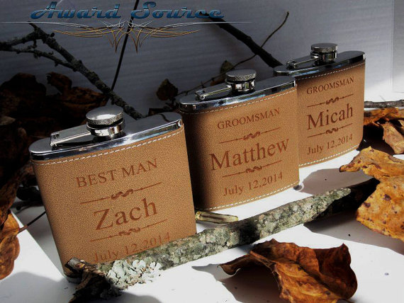 Свадьба - 7 Groomsmen Leather Flask Set ~With Free Engraving~ 6 oz Leather Wrapped Stainless Steel Flask