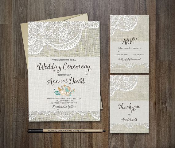 rustic wedding invitation diy printable wedding stationery set burlap lace wedding invite