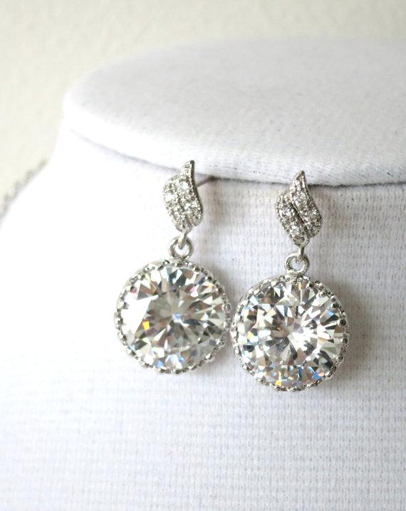 Mariage - Pamelia - Bridal Earrings, Bridesmaids, Clear Large Cubic Zirconia Crystal, Big Diamond Earrings, Bridesmaid Jewelry