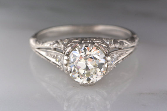 Wedding - Antique 1.58 ctw Edwardian Engagement Ring in Platinum with Certified 1.33 ct J VS1 Old European Cut Diamond; Engraving; Filigree TS28