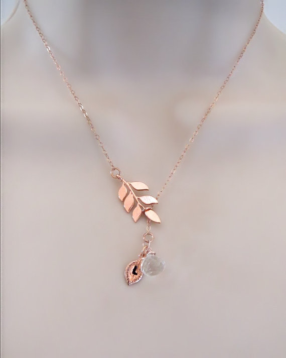 Mariage - Rose Gold Birthstone Necklace, Initial Necklace, Tree Necklace, Personalized Necklace, initial Leaf Charm, Mothers Necklace, Mom gift,